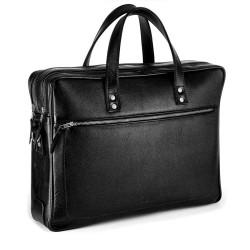 Skórzana, dwukomorowa męska torba na laptopa. -