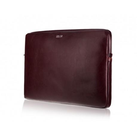 Bordowy skórzany pokrowiec na laptopa 15 cali SA23A - elegancki dodatek dla chcącej ochronić swój laptop przed uszkodzen
