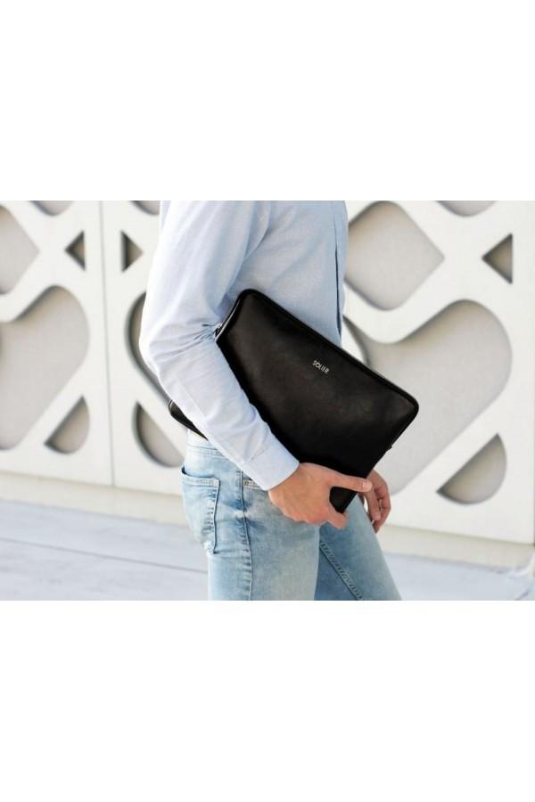 Czarne skórzane etui na laptopa 15 cali SA23A - elegancki dodatek dla chcącej ochronić swój laptop przed uszkodzeniem w