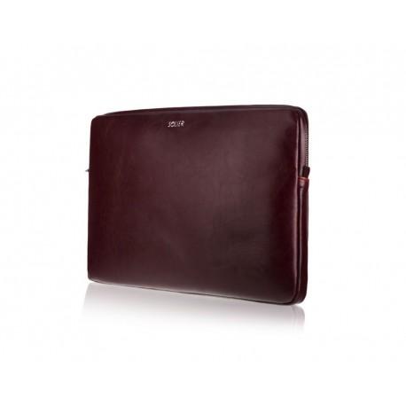 Bordowy skórzany pokrowiec na laptopa 13 cali SA23 - elegancki dodatek dla chcącej ochronić swój laptop przed uszkodzeni
