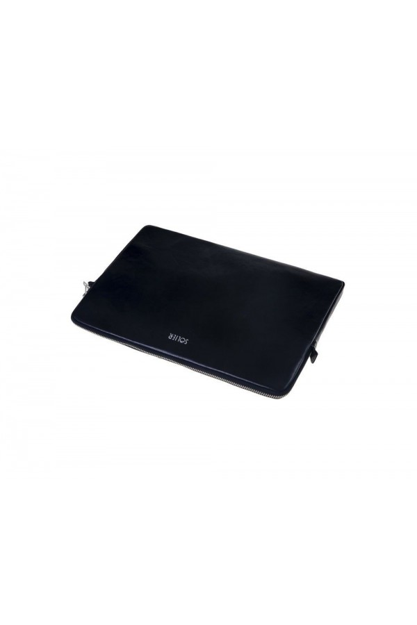 Czarny skórzany pokrowiec na laptopa 13 cali SA23 - elegancki dodatek dla chcącej ochronić swój laptop przed uszkodzenie