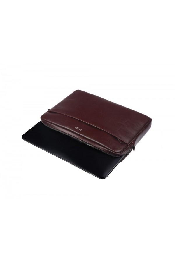 Eleganckie brązowe skórzane etui na laptopa 13 cali SA24 - elegancki dodatek dla chcącej ochronić swój laptop przed uszk