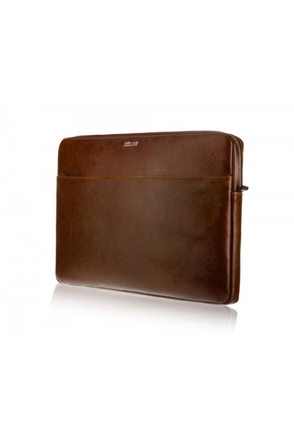 Brązowy solidny pokrowiec na laptopa 15 cali SA24A - elegancki dodatek dla chcącej ochronić swój laptop przed uszkodzeni