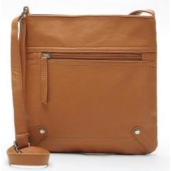 Koloru khaki skórzana listonoszka damska z kieszonką z przodu torebki. -