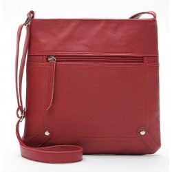 Czerwonaskórzana listonoszka damska z kieszonką z przodu torebki. -
