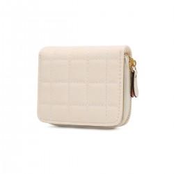 Beżowy pikowany mały skórzany portfel damski zamykany na zasuwek -
