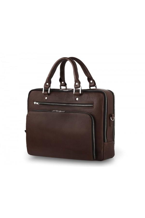Elegancka pojemna skórzana męska torba na laptopa SL24 - czyli funkcjonalna torba, którą musisz posiadać. Pojemna dwukom