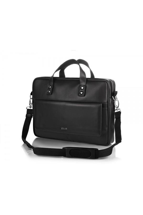 Męska elegancka torba skórzana na ramię S32 - dobrze wyglądająca torba męska z możliwością umieszczenia w niej laptopa.