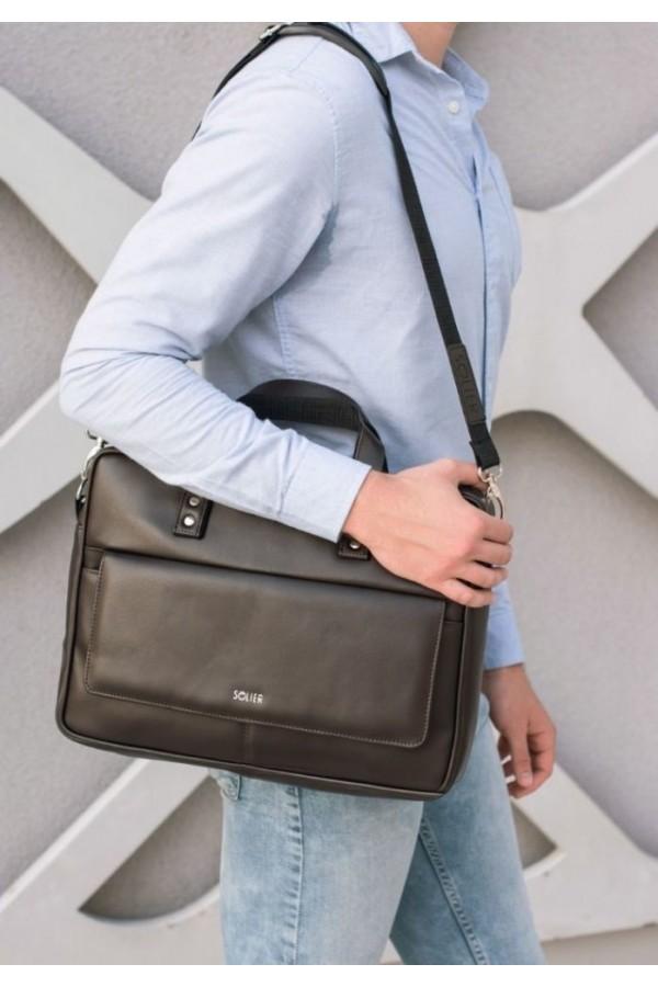 Elegancka solidna skórzana męska torba na ramię S32 - dobrze wyglądająca torba męska z możliwością umieszczenia w niej l
