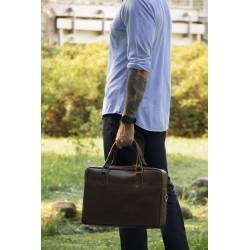 Skórzana, męska torba z miejscem na laptopa. -