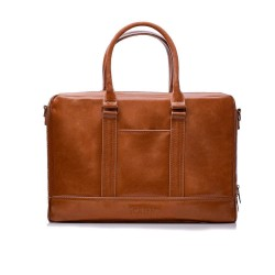Brązowaelegancka, pojemna i nowoczesnaskórzana torba na laptopa i dokumenty. Wykonana z włoskiej skóry naturalnej z db