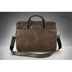 Elegancka brązowa męska torba na laptopa S13 - MUST-HAVE podczas studiów czy pracy w biurze. Idealne wymiary pozwalają n
