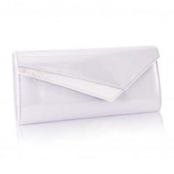 Szara lakierowana kopertówka damska F17 - idealna na cudownego sylwestra, wesele czy imprezę wieczorną. Dzięki idealnym