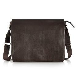 Męska brązowa z klapą torba na ramię S11 - czyli klasyczna torba na ramię czasem nazywana listonoszką. Pojemna i wygodna
