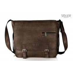 Elegancka brązowa męska torba na ramię S12 - MUST-HAVE podczas studiów czy pracy w biurze. Idealne wymiary pozwalają na