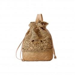 Oryginalny plecak damski wykonany z naturalnych materiałów, pleciony z słomy w kolorze brązu i beżu -