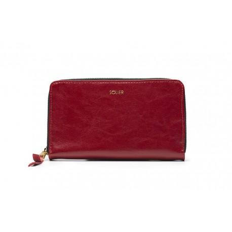 Czerwony elegancki skórzany portfel damski P01 to szeroki i pojemny damski skórzany portfel zamykany na zamek. Wygoda w