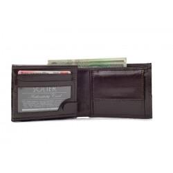 Eleganckii wygodny w użytkowaniu skórzany portfel męski w kolorze czarnym lub brązowym. Portfel nie posiada zapięcie co