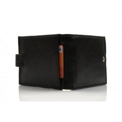 Elegancki niewielki skórzany portfel męski z zapięciem. W środku znajdziesz wiele miejsca na karty bankowe i dokumenty.