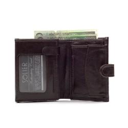 Model portfela skórzanego dla mężczyzny ceniącego sobie bezpieczeństwo rzeczy w nim trzymanych. Dzięki zapięciu z portfe