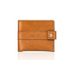 Mały elegancki skórzany męski portfel SW05 - Cienki i mały skórzany portfel męski, który cechuje się niepowtarzalną wygo