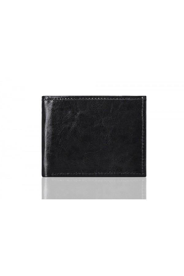 Elegancki pojemny czarny skórzany męski portfel SW06 - Cienki i mały skórzany portfel męski, który cechuje się niepowtar