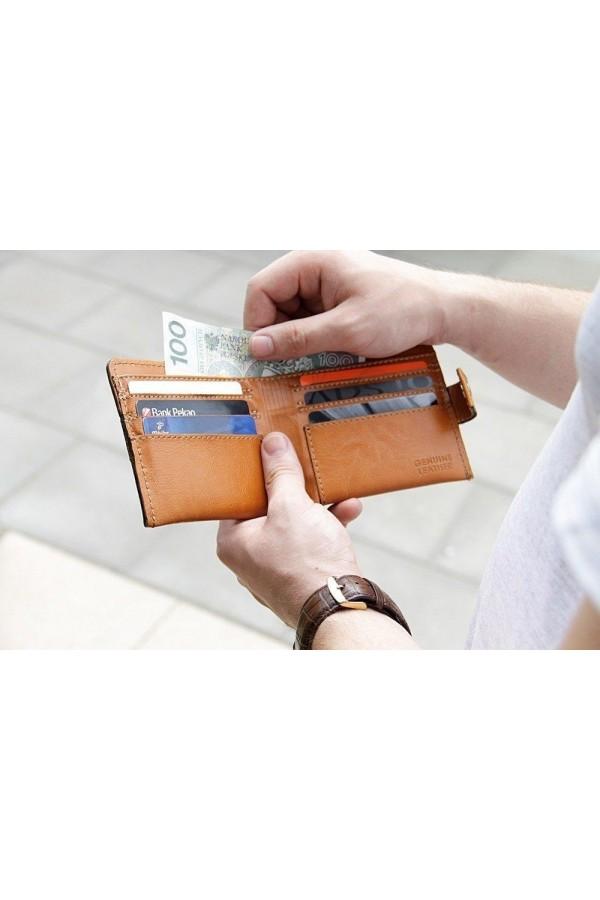 Elegancki solidny brązowy skórzany męski portfel SW06 - Cienki i mały skórzany portfel męski, który cechuje się niepowta
