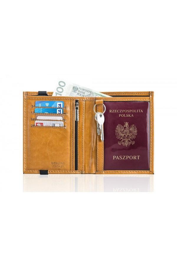 Brązowe skórzane etui portfel na paszport SW07 - został zaprojektowany dla osób, które często podróżują. Portfel męski,