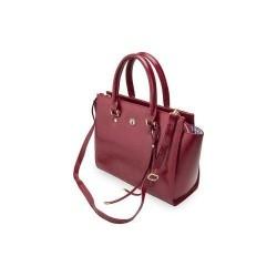 Ekskluzywna torebka damska wykonana z skóry naturalnej w kolorze czarnym, granatowym, bordowym lub jasno brązowym. Z łat