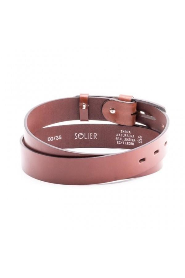 Klasyczny, skórzany pasek męski, wykonany z najwyższej jakości skóry naturalnej od marki Solier. -