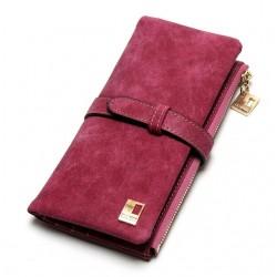 Elegancki nubuk portfel damski z miejscem na telefon. -