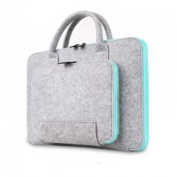 Damska lekka torba na laptopa wykonana z filcu w kolorze szarym z błękitnym akcentem -