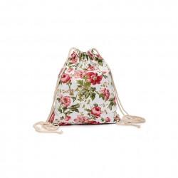 Lekki damski plecak na sznurkach wczerwonekwiaty -