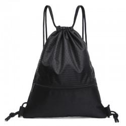 Czarny damski plecak na sznurkach wykonany z wytrzymałego materiału z eleganckim wzorem. -