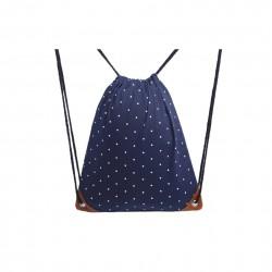 Granatowy materiałowyworek - plecak na sznurkach w białe kropki. -