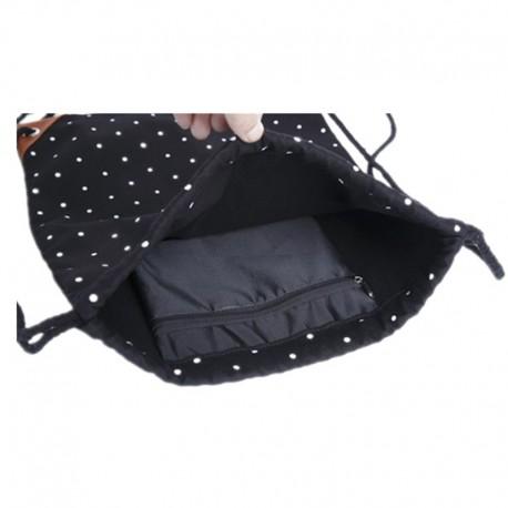 c74e623e50e3c Czarny materiałowy worek - plecak na sznurkach w białe kropki.