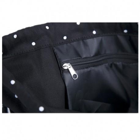 710892d1075e5 Czarny materiałowy worek - plecak na sznurkach w białe kropki. -