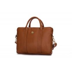 Damska elegancka skórzana torba na laptopa Dulce - uniwersalna torba do pracy, na studia czy spotkanie biznesowe. Wykona