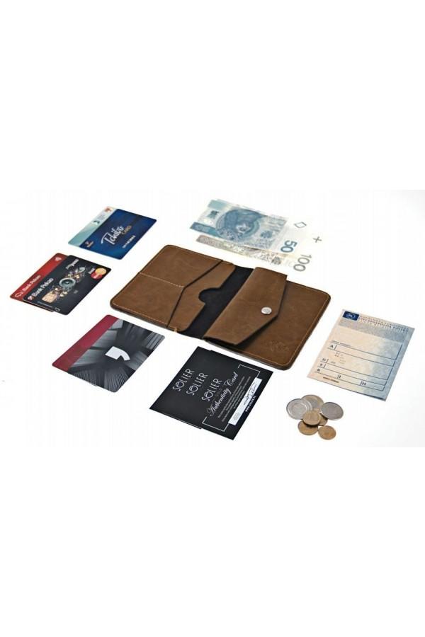 Cienki skórzany portfel męski z miejscem na dwie karty, banknoty oraz bilon dla eleganckiego mężczyzny 21 wieku. Dzięki