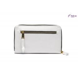 Jasno szary damski elegancki skórzany portfel P01 to szeroki i pojemny damski skórzany portfel zamykany na zamek. Wygoda