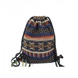 Damski pleciony worek na sznurkach z haftem aztecto wyjątkowy i unikalny dodatek każdej stylizacji. -