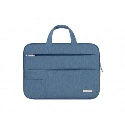 Nowoczesna lekka i wytrzymała torba na laptopa w kolorze niebieskim. -