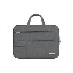Nowoczesna lekka i wytrzymała torba na laptopa w kolorze szarym. -