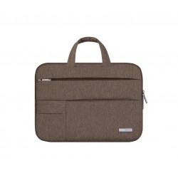Nowoczesna lekka i wytrzymała torba na laptopa w kolorze brązowym. -
