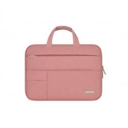 Nowoczesna lekka i wytrzymała torba na laptopa w kolorzeróżowa. -