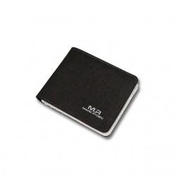 Mały czarny portfel męski wykonany z materiału i skóry w środku. Ponadczasowa elegancja oraz klasyka. -