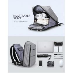 Minimalistyczny plecak męski na laptopa 15,6 cali w kolorzeszarym z wodoodpornego materiału. -