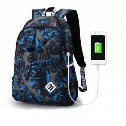 Czarny plecak męski z nadrukiem - sportowy, idealny na wycieczkę i długie spacery. Wodoodporny i wytrzymały ochroni Twój