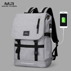 Szary duży i lekki plecak męski z klapą, idealny na laptopa do pracy i dokumenty. Dzięki specjalnej budowie zwiększysz j