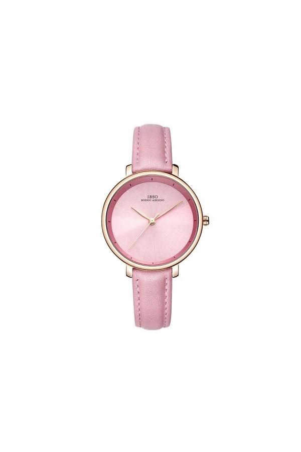 Elegancki damski zegarek na pasku z tarczą i skórzanym paskiem w kolorze różowym oraz kopertą w kolorze złotym. -